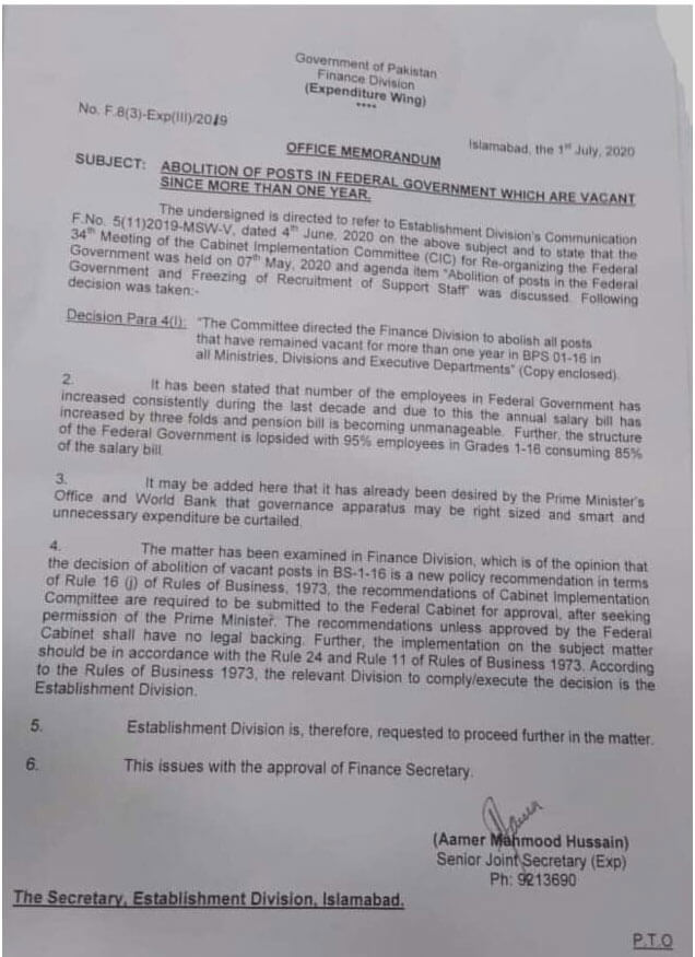 Notification of Abolition of posts in federal government