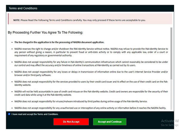 Terms and conditions to get POC card online