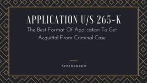 Application u/s 265-k
