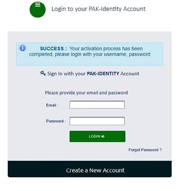 Sign in Pak identity to apply Pakistan origin card online